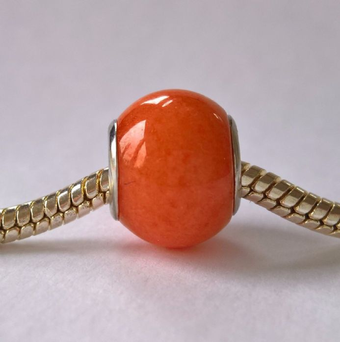 European large hole style bead Orange Mountain Jade SP X 1